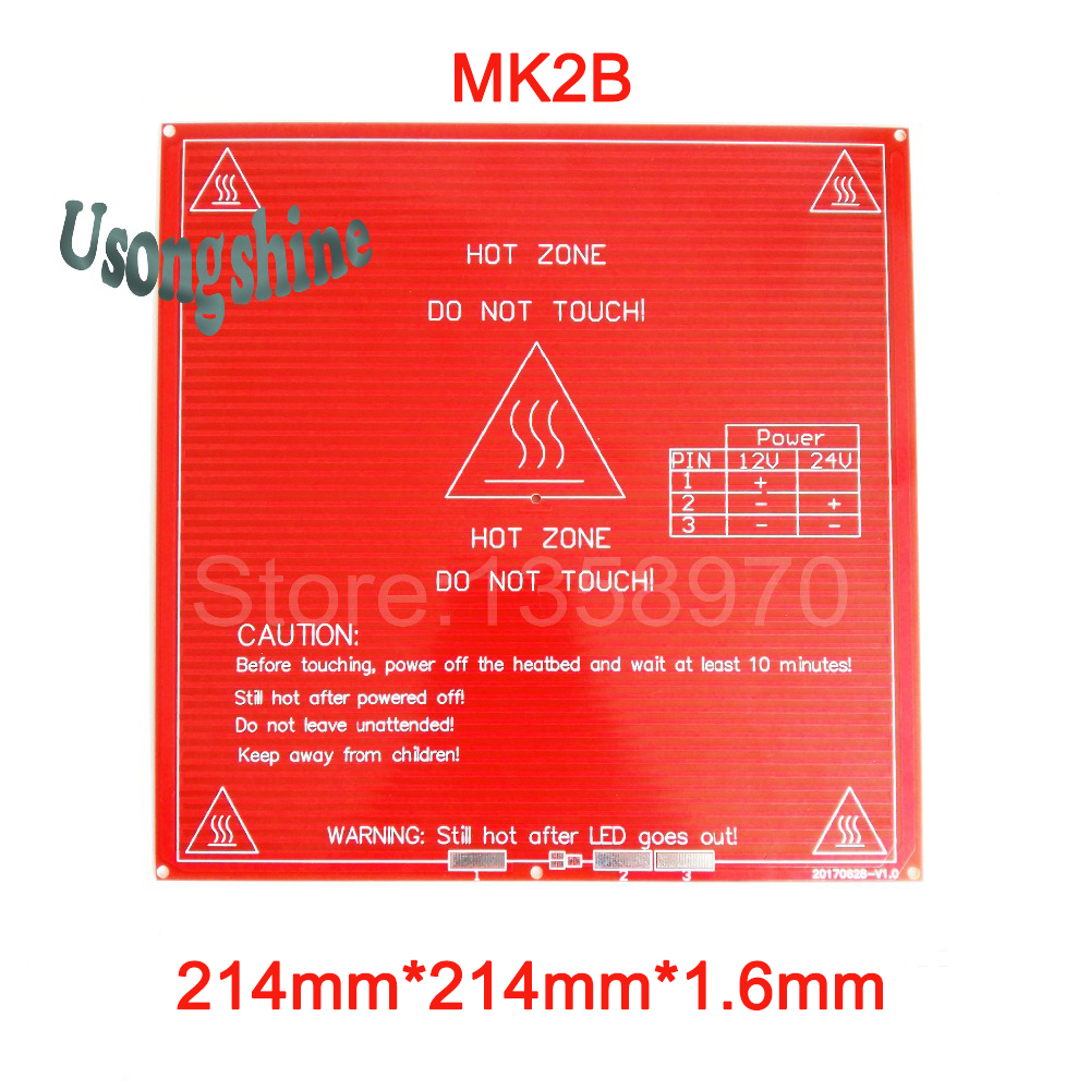 1pcs PCB Heatbed Hot Bed for 3D printer Mk2B Heat Bed Plate 12V 24V dual power supply 214x214mm on the Linear Guides no wire 3d printer 3mm square pcb heat bed mk3 reprap hot plate dual voltage 12 24v