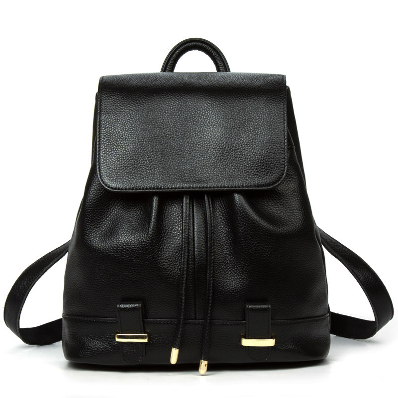 Top Layer Cowhide Women Fashion Simple Backpack Backside Zipper Drawstring Packsack Black Blue Red Genuine Leather Casual Bag