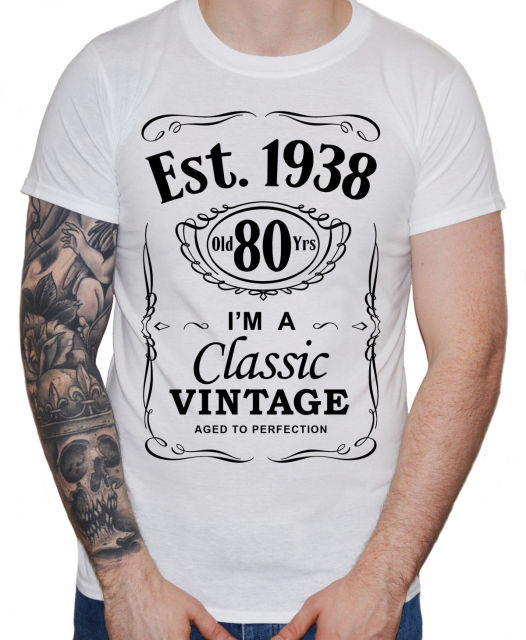 2019 New Cool Tee Shirt Mens 80th Birthday T 1938 Vintage Man Eightieth 80 Years Gift