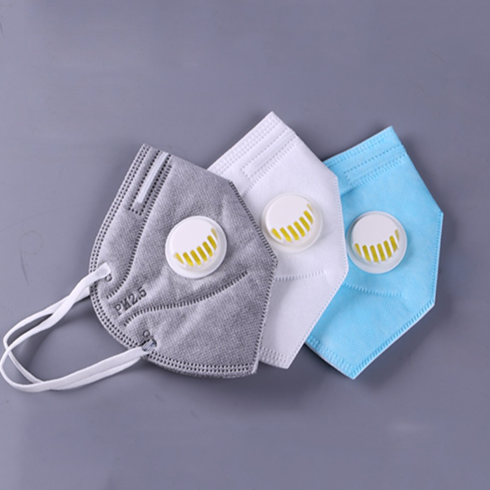 5PCs Anti-haze Mouth Masks With Valve Washable Replaceable Filter Activated Carbon Folding Dust Mask Safety Mask
