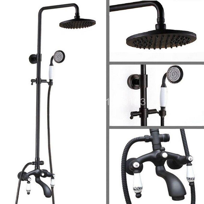 Black Oil Rubbed Bronze Wall Mounted Bathroom 8 Inch Rainfall Shower Faucet Set Bath Tub Water Tap Dual Ceramics Handles ahg136