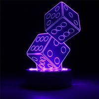 Vision 3D Dual Dice Shaped LED Controller Switch Night Light USB Colorful Desk Table Lamp Cafe