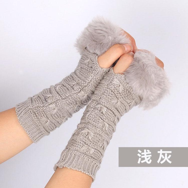 Gray Jinjin Winter Women Wrist Arm Warmer Solid Knitted Long Fingerless Glove Mitten Jacquard Knitted Knitted Woolen Fashion Warm Fingerless Half Finger Lace Gloves