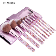 Makeup Brushes with Cosmetic Case ENZO KEN 9 Pcs Synthetic Foundation Powder Concealers Eye Shadows Makeup Brush Sets