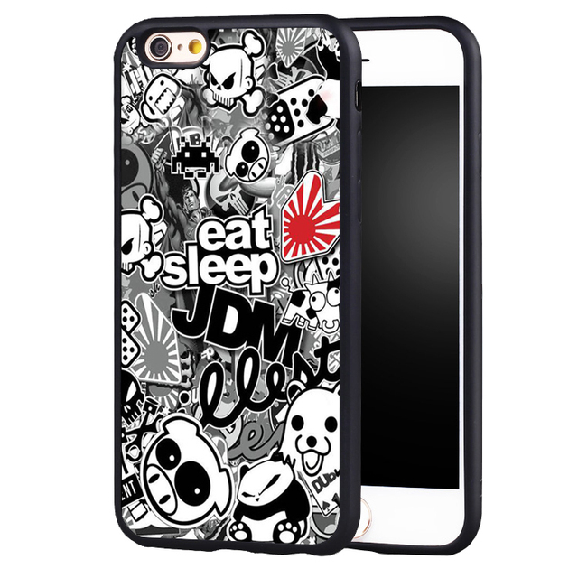 Sticker bomb eat sleep jdm soft edge hard back case cover for iphone 6 6plus 6s