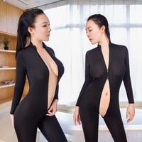 Sexy Women Shiny 2 Two Way Zipper Open Crotch Chest Transparent Bodysuit Turtleneck Body Stockings Club
