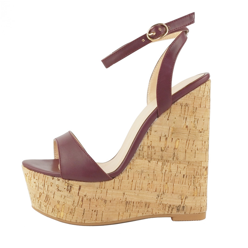 New 2018 Platform Wedge Sandal Sexy Open Toe Ankle Strap Gladiator Sandal Pu Leather Super High Summer Shoes for Woman apoepo fashion patent leather wedge sandal for woman super high ankle strap platform shoes rope braided buckle strap summer shoe