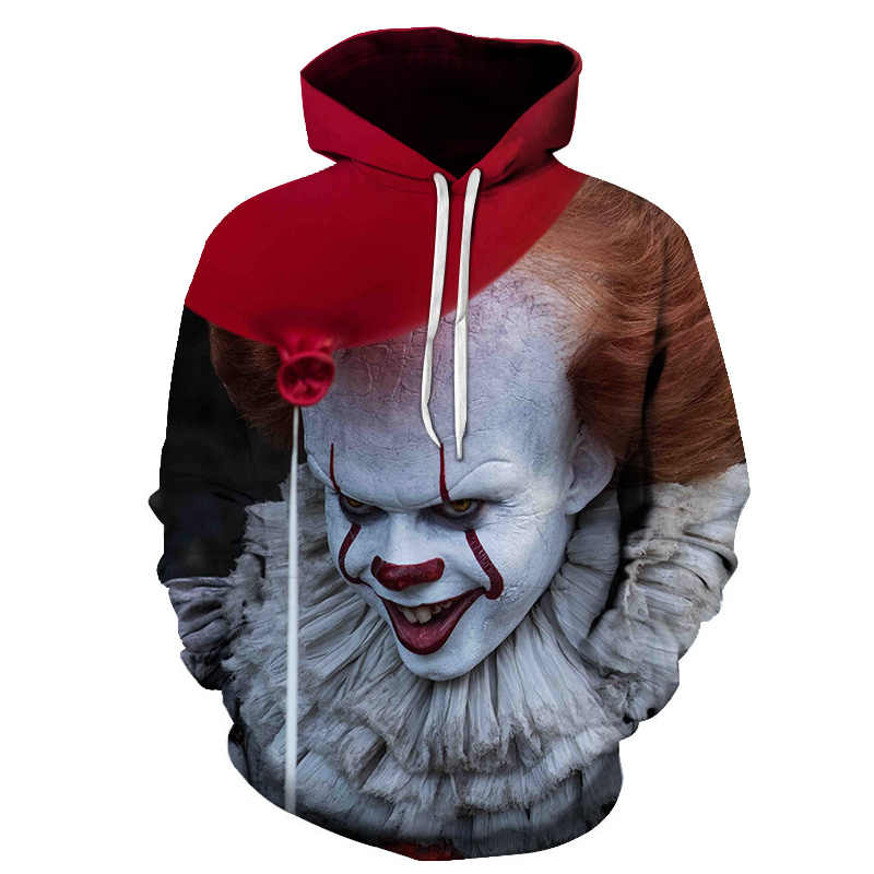 Pennywise 3D Clown Hoodie Sweatshirt hombres mujeres Pullover Hoody Tops Sudadera Hombre Casual marca ropa deportiva chándal talla asiática