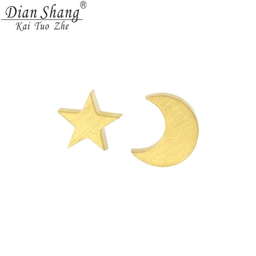 DIANSHANGKAITUOZHE Fashion Geometric Stars Moon Stud Earrings Women Men Child Boho Jewellery Stainless Steel Rose Gold Brincos