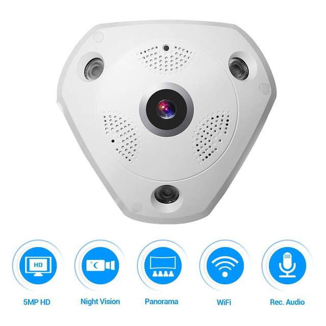 5.0MP 360 Degree Fisheye Security Camera Wireless IP Camera Wifi Dome Camera VR Camera Remote View Free Smartphone APP