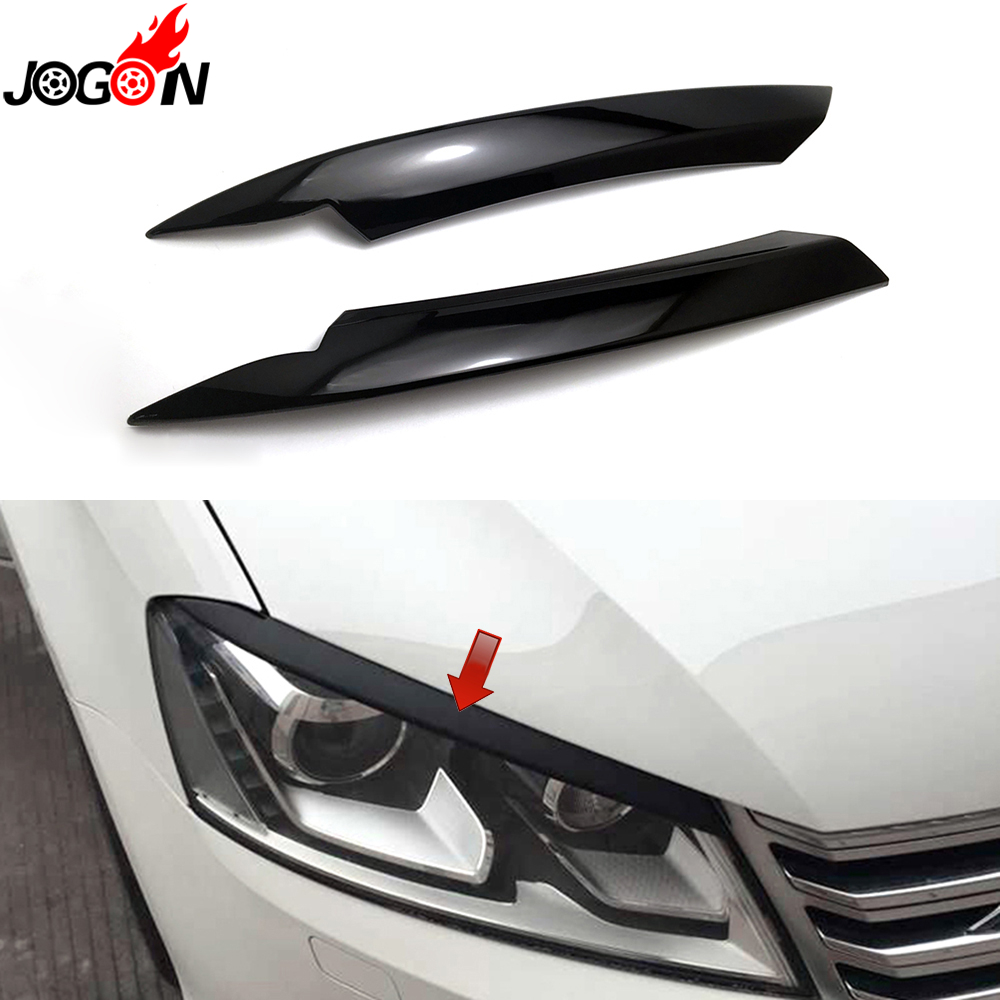 Piano Black For Volkswagen VW Passat B7 2010 - 2014 Car Headlight Head Lamp Light Eyelid Eyebrow Stickers Cover Trim Accessories car styling head light lamp headlight eyebrow eyelid cover trim chrome decor strip sticker for chevy chevrolet cruze 2009 2014