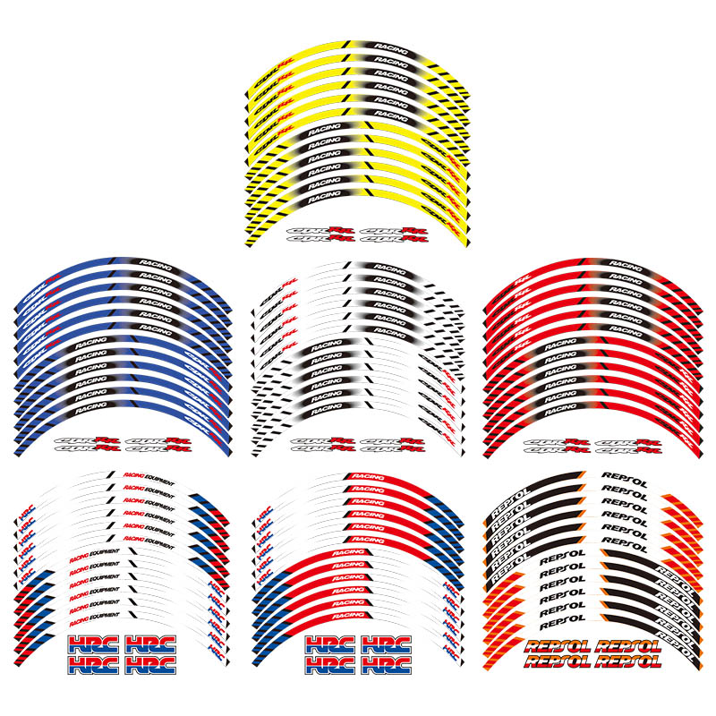 12 X Thick Edge Outer Rim Sticker Stripe Wheel Decals FIT All HONDA REPSOL HRC CBR250RR CBR400RR CBR600RR CBR1000RR