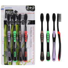 4pcs/lot Bamboo Charcoal Toothbrush Anti-slip Handle Ultra-fine Soft Hair Brush For Oral Hygiene
