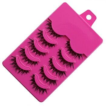 11.11 Melhor Preço! 5 Pares de Maquiagem Handmade Desarrumado Cílios Naturais Cruzadas Cílios Postiços Olho Perfeito