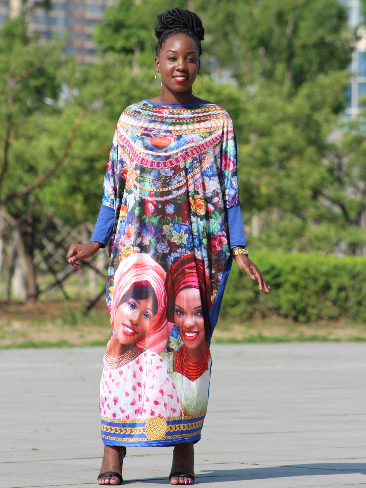 Dashikiage New African woman head face full jewelry Printed elegant Plus size Large Long Dress