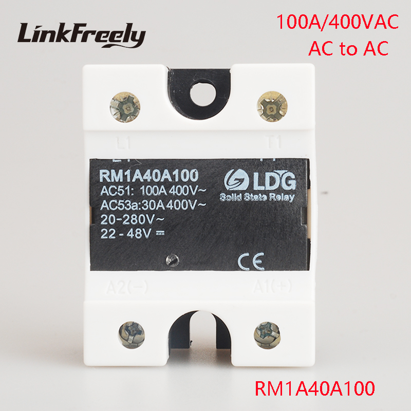 цена на RM1A40A100 100A AC AC Solid State Relay Output:42-440VAC Input:20-280VAC/22-48V DC SSR Relay Soft Starting Relay Switch Board