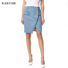 Casual split pearls denim skirts womens Button Office Lady skirt 2018 New chic korean Autumn Winter jeans skirt