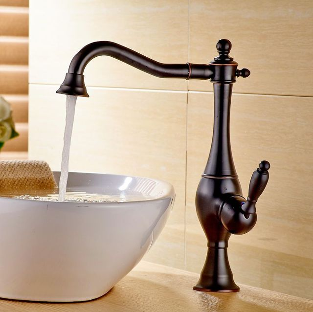 Bathroom Vessel Sink Faucet Oil Rubbed Bronze Basin Tap Waterfall Spout  Hot&Cold Faucet