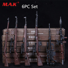6pcs/Set 1/6 soldier automatic rifle sniping weapon gun models 4D RPG M14 fit for 12 inches action figures dolls
