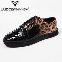 CUDDLYIIPANDA 2018 New Version Luxury Casual Shoes Men Lace Up Leopard Grain Loafers Man Shoes Patent
