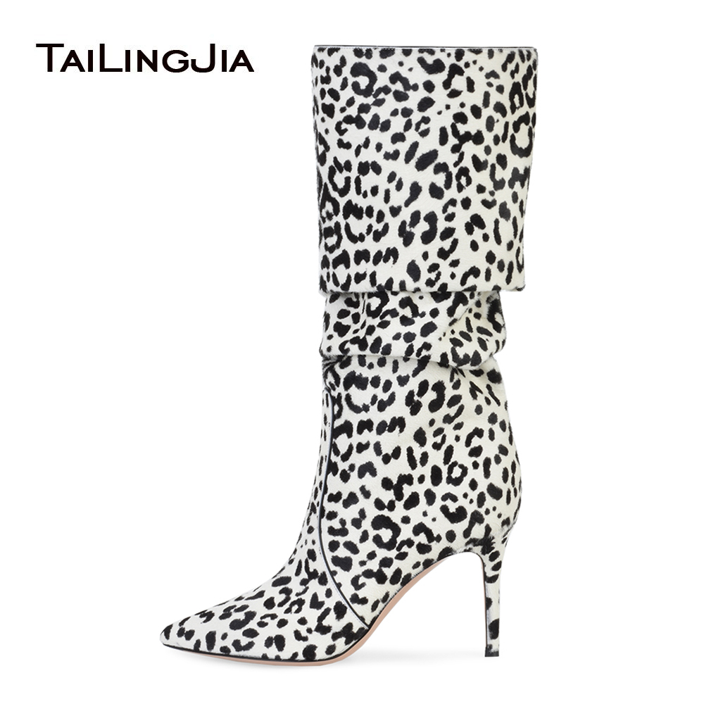 Women Pointy Toe White Leopard Horse Hair Slouch Knee High Boots Pink High Heel Slouchy Long Boots Ladies Brown Winter Shoes fashion horse hair tassels leather leopard pattern flat shoes black brown pair 37