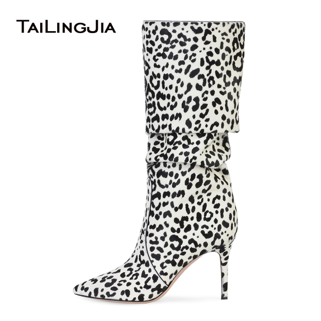 86f3b9cea56 Women Pointy Toe White Leopard Horse Hair Slouch Knee High Boots Pink High  Heel Slouchy Long Boots Ladies Brown Winter Shoes