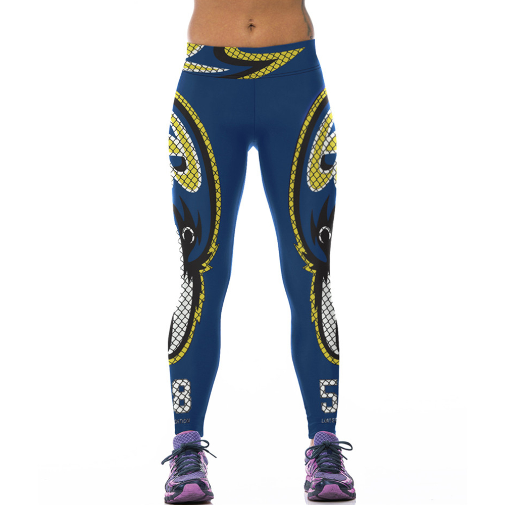 High Waist Women Leggings Eagle 3D Print font b Football b font Team Rugby Sexy Tights