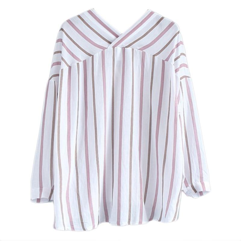 3b29b425f3 Cheap Las mujeres de rayas Casual camisas Tops botón murciélago blusa de  moda de manga completa