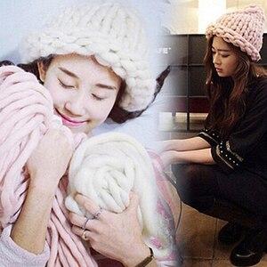 Image 3 - Горячая распродажа! 250 г, модное супер объемное одеяло ручной вязки «сделай сам», шапки, теплая гигантская толстая пряжа