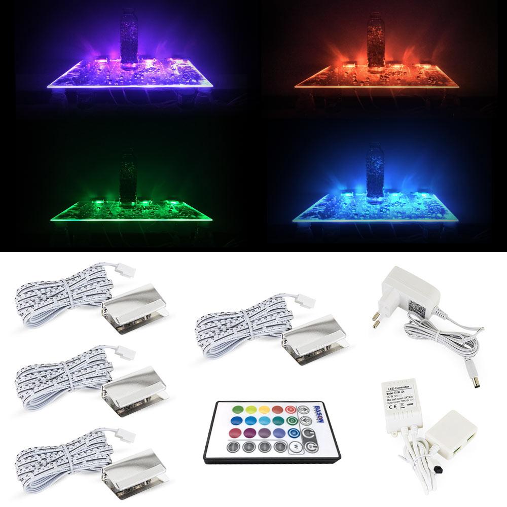 RGB LED Glass Edge Lighting Kit 4pcs RGB LED Glass Shelf