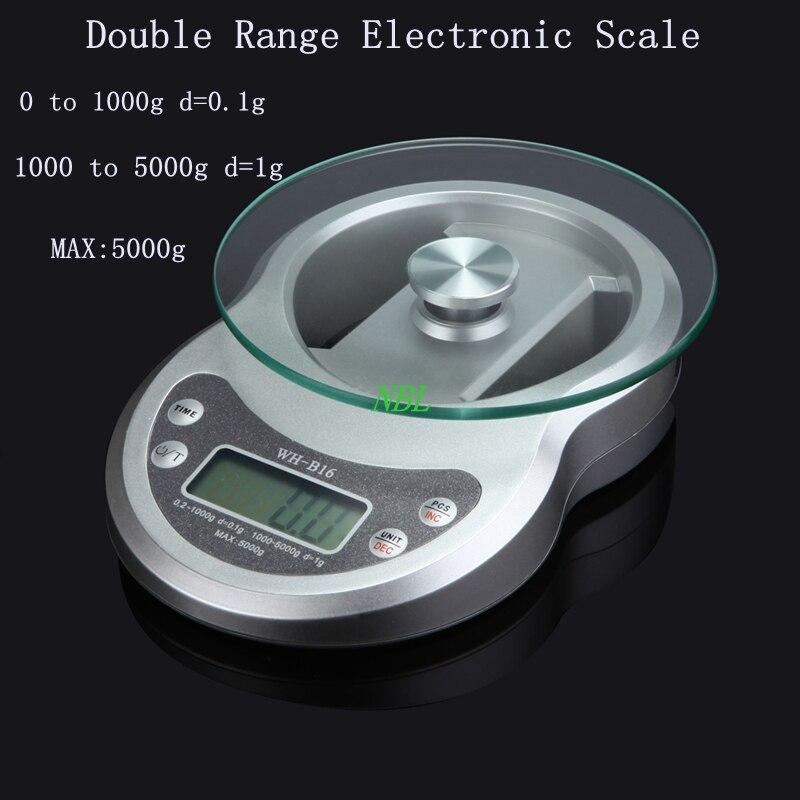5 kg * 0,1g Doppel Range LCD Elektronische Waage 5000g/0,1g Digitale ...