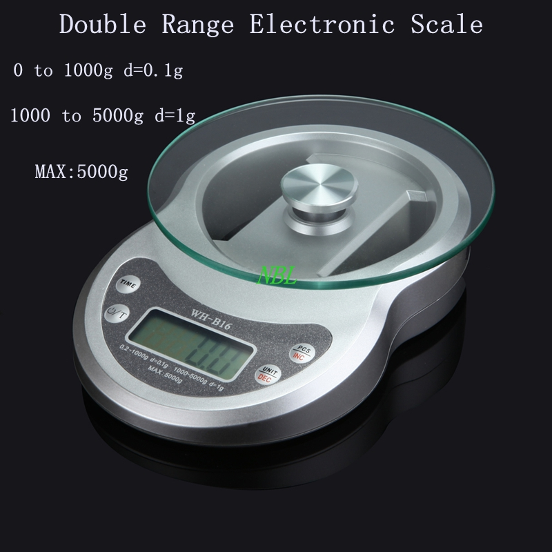 5kg*0.1g Double Range LCD Electronic <font><b>Scale</b></font> 5000g/0.1g Digital Kitchen <font><b>Scales</b></font> Weight Balance Clock Timer PCS Function With Box