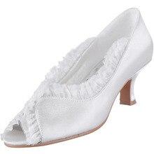 EL-052 White High Heel Shoes Ivory Peep Toe Ruffles 2inch Spool Heel Satin Women Wedding Pumps