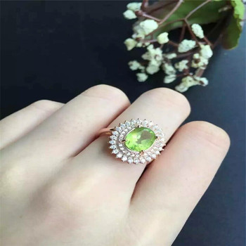 KJJEAXCMY fine jewelry S925 Sterling silver inlay natural olivine stone colored gemstone hand - decorated women's style ring