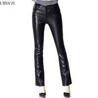 LXUNYI Womens Leather Trousers 2017 Autumn Fashion Slim Black Leather Pants Women High Waist Thin PU