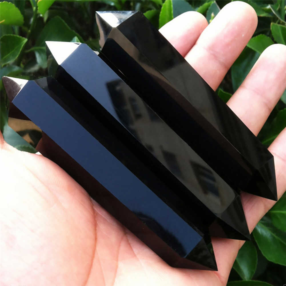 2018 New arrival 100% Natural Obsidian Crystal Column Double-pointed Treatment Stone Quartz Crystal Stone Decoration Ornament