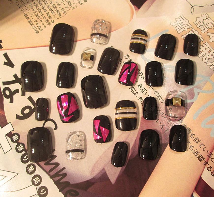 24Pcs Beauty short Fake Nails Full Cover European Simple Manicure ...