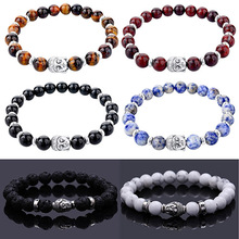 2016 New Design Men's Fashion Natural Stone Bracelet Concise Lucky Beads Bangle Cuff Jewelry Gift