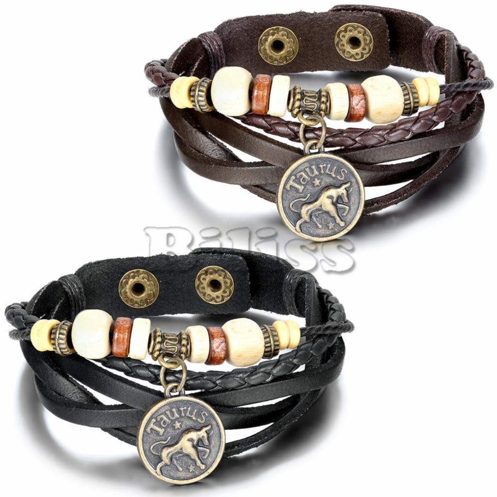 2017 Vintage Multilayer Braided Constellation Taurus Charm Bracelets  Wristband Cuff Leather Bracelet For Women Men(