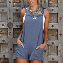 Sleeveless Jumpsuit Women Ladies Loose Summer Playsuit Pocket Party Jumpsuits Bandage Romper Overalls Trousers