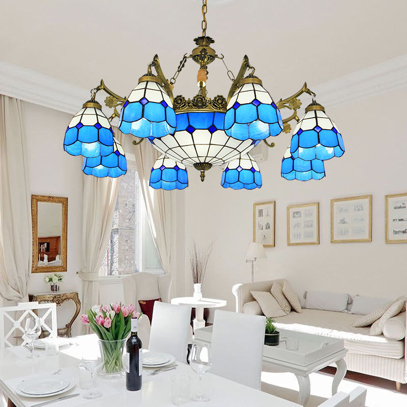 8 light tiffany chandelier blue white glass shade antique bronze finish E27/E26 ceramic lamp holder bohemian foyer chandelier