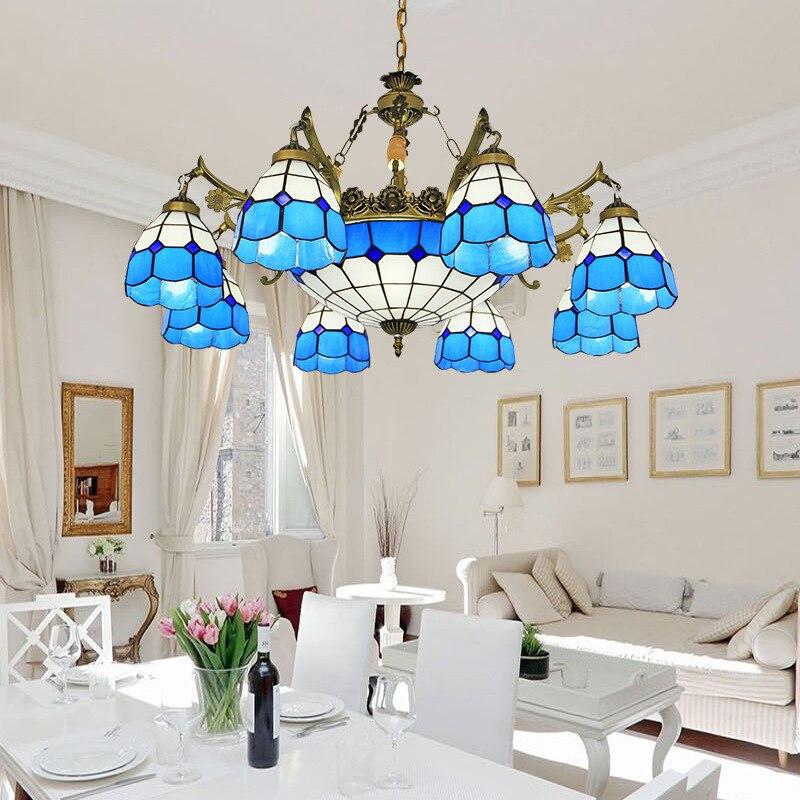 Здесь продается  8 light tiffany chandelier blue white glass shade antique bronze finish E27/E26 ceramic lamp holder bohemian foyer chandelier  Свет и освещение