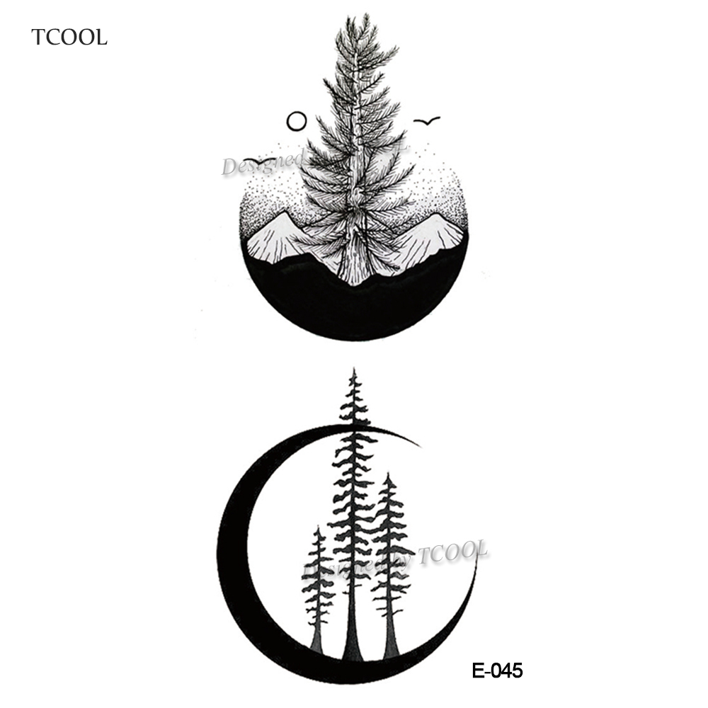 HXMAN Mountain Temporary Tattoos For Tree Waterproof Men Fake Body Art Women Original Design Fashion Hand Sticker 9.8X6cm E-045