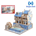 Creative DIY Laser Cutting 3D house Wooden Puzzle Learning Educational Toy Game Assembly Toys for Children Jigsaw Kids Toys
