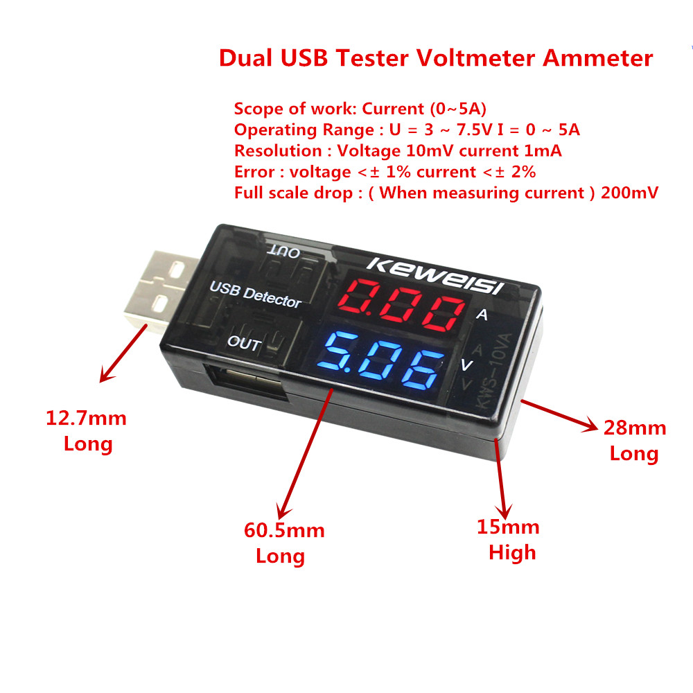Double Row Shows USB Current Voltage Tester USB Voltage Ammeter USB Detector  Dual USB Current Voltage Charger usb current voltage charging detector mobile power current and voltmeter ammeter voltage usb charger tester double row shows h7