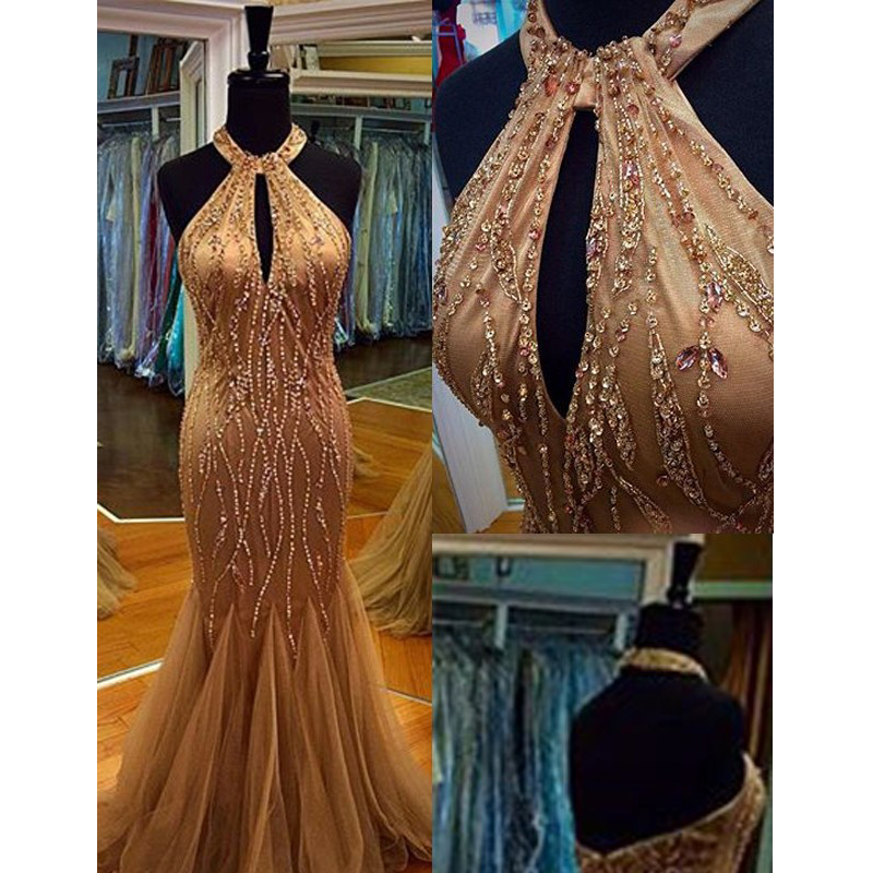 Sparkly Heavy Beads Champagne   Prom     Dresses   2016 Real Pic Mermaid Halter Neck Beading   Prom   Gowns with Keyhole Evening Gowns