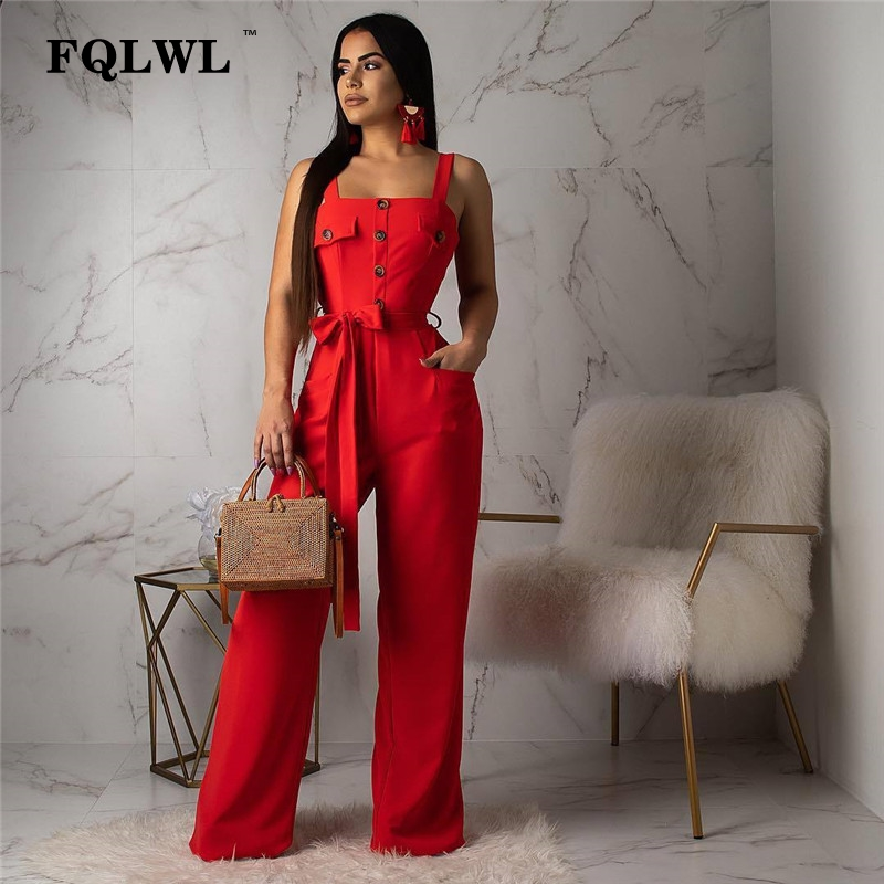 FQLWL Streetwear Bandage Wide Leg Summer   Jumpsuit   Women Overalls Long Backless Black Red Bodycon Ladies Sexy   Jumpsuit   Female