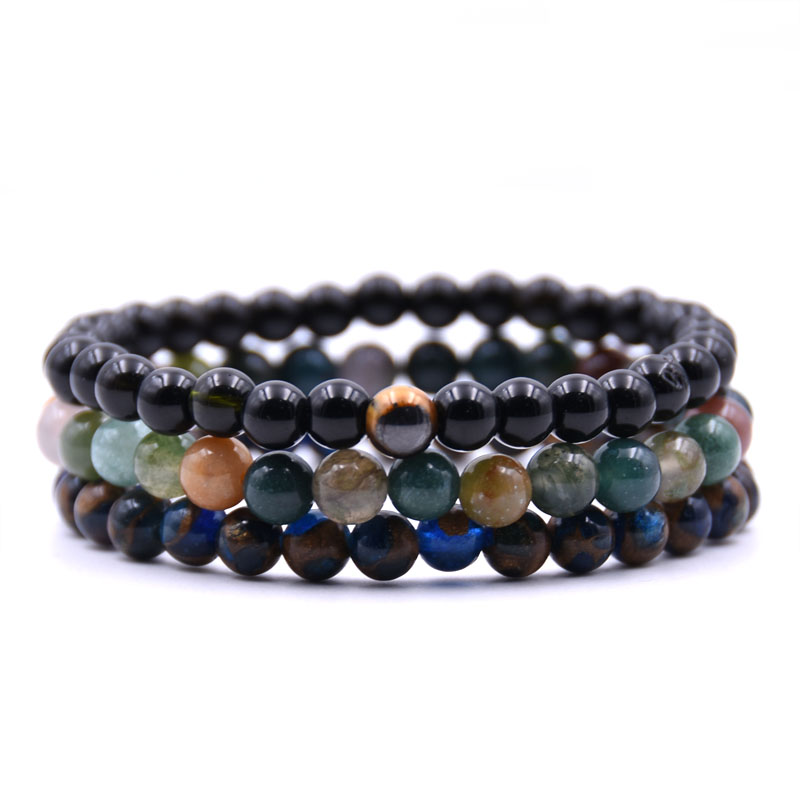 2018 New fashion Summer Style Natural Stone Beads Bracelet Women Men multiple colour Beaded Stretch Bracelets Bangles in Strand Bracelets from Jewelry Accessories