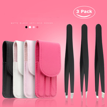3pcs Stainless Steel Professional Eyebrow Tweezers Brow Hair Removal Beauty Makeup Slanted Tweezer Tools With Leather cover