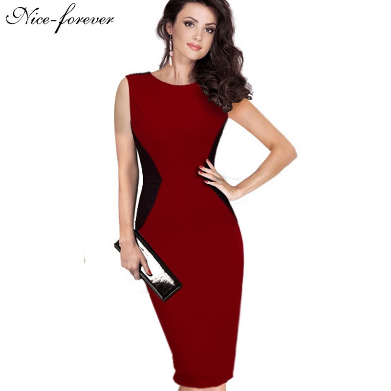 buy nice forever classic patchwork slimming sleeveless chic look pencil dress. Black Bedroom Furniture Sets. Home Design Ideas